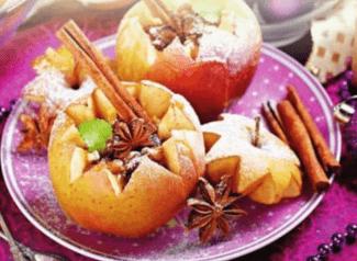 Яблоки, запечённые с изюмом.