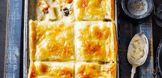 Пирог с курицей и луком-пореем.