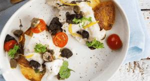 Запеченная треска с овощами по-средиземноморски.