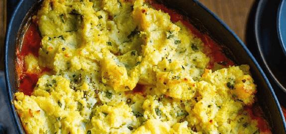 Рыба, запечённая в картофельном пюре.