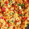 Рис с курицей и колбасками.