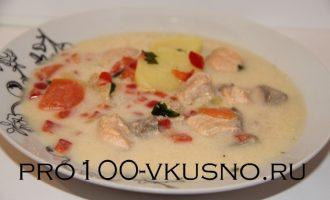 Суп сырный с красной рыбой