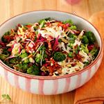Салат из трёх видов капусты с беконом и заправкой из брынзы