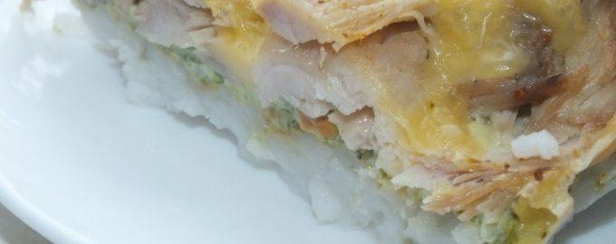 Рисовая запеканка с курицей и брокколи